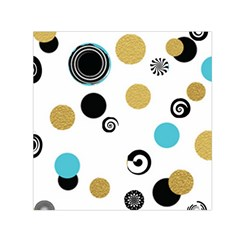 Fun Retro Blue Gold Circles  Small Satin Scarf (square)
