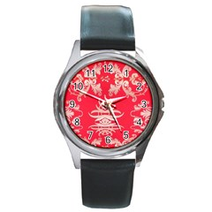 Red Chinese Inspired  Style Design  Round Metal Watch by flipstylezdes