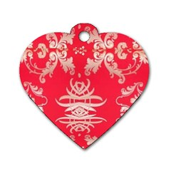 Red Chinese Inspired  Style Design  Dog Tag Heart (one Side)