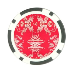 Red Chinese Inspired  Style Design  Poker Chip Card Guard