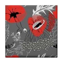 Red Poppy Flowers On Gray Background  Tile Coasters
