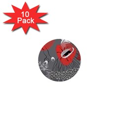 Red Poppy Flowers On Gray Background  1  Mini Buttons (10 Pack)