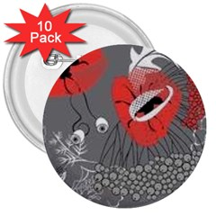 Red Poppy Flowers On Gray Background  3  Buttons (10 Pack)  by flipstylezdes