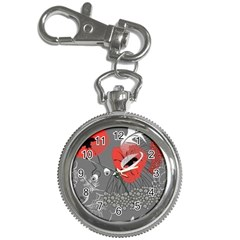 Red Poppy Flowers On Gray Background  Key Chain Watches