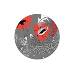 Red Poppy Flowers On Gray Background  Magnet 3  (round)