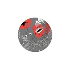 Red Poppy Flowers On Gray Background  Golf Ball Marker (4 Pack)