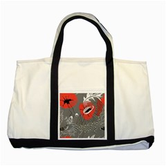 Red Poppy Flowers On Gray Background  Two Tone Tote Bag