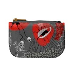 Red Poppy Flowers On Gray Background  Mini Coin Purses