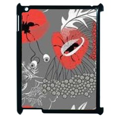 Red Poppy Flowers On Gray Background  Apple Ipad 2 Case (black) by flipstylezdes