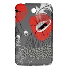 Red Poppy Flowers On Gray Background  Samsung Galaxy Tab 3 (7 ) P3200 Hardshell Case  by flipstylezdes