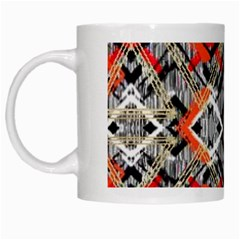 Retro Orange Black And White  White Mugs