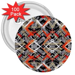 Retro Orange Black And White  3  Buttons (100 Pack)