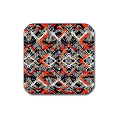 Retro Orange Black And White  Rubber Coaster (square)  by flipstylezdes