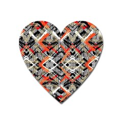 Retro Orange Black And White  Heart Magnet