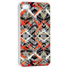 Retro Orange Black And White  Apple Iphone 4/4s Seamless Case (white) by flipstylezdes