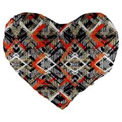 Retro Orange Black And White  Large 19  Premium Flano Heart Shape Cushions