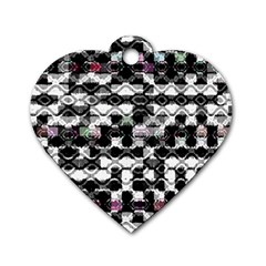 Seamless White And Black Design Dog Tag Heart (one Side) by flipstylezdes