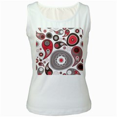 Fun Red And Black Design Women s White Tank Top