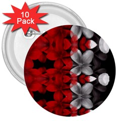 Red And Black Florals  3  Buttons (10 Pack)  by flipstylezdes