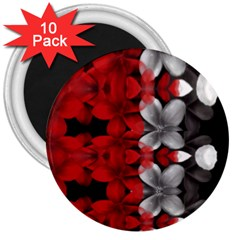 Red And Black Florals  3  Magnets (10 Pack)