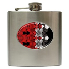 Red And Black Florals  Hip Flask (6 Oz)