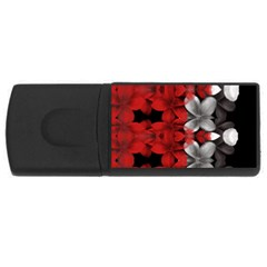 Red And Black Florals  Rectangular Usb Flash Drive