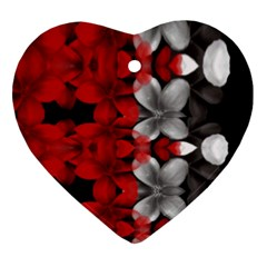 Red And Black Florals  Heart Ornament (two Sides)