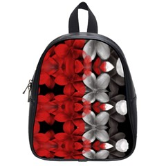 Red And Black Florals  School Bag (small)