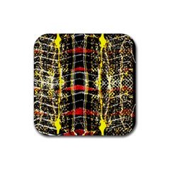 Retro Red And Black Liquid Gold  Rubber Coaster (square)  by flipstylezdes