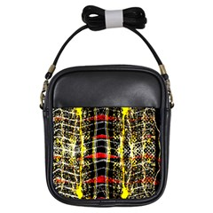 Retro Red And Black Liquid Gold  Girls Sling Bags