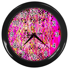 Hot Pink Mess Snakeskin Inspired  Wall Clocks (black)