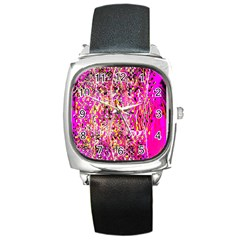 Hot Pink Mess Snakeskin Inspired  Square Metal Watch by flipstylezdes