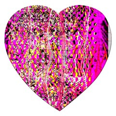 Hot Pink Mess Snakeskin Inspired  Jigsaw Puzzle (heart)