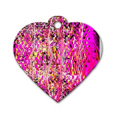 Hot Pink Mess Snakeskin Inspired  Dog Tag Heart (two Sides)
