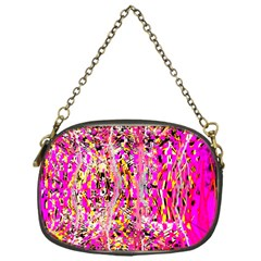 Hot Pink Mess Snakeskin Inspired  Chain Purses (one Side)