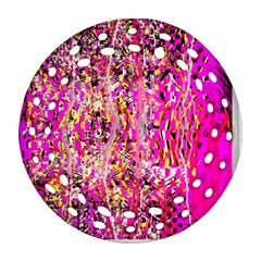 Hot Pink Mess Snakeskin Inspired  Round Filigree Ornament (two Sides)