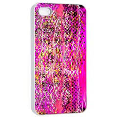 Hot Pink Mess Snakeskin Inspired  Apple Iphone 4/4s Seamless Case (white) by flipstylezdes