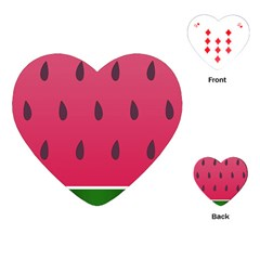 Watermelon Fruit Summer Red Fresh Playing Cards (heart)