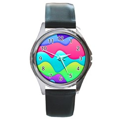 Lines Curves Colors Geometric Lines Round Metal Watch