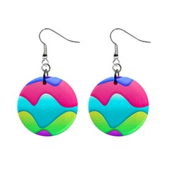 Lines Curves Colors Geometric Lines Mini Button Earrings