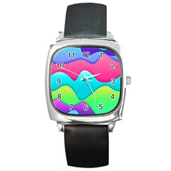 Lines Curves Colors Geometric Lines Square Metal Watch