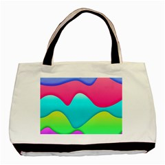 Lines Curves Colors Geometric Lines Basic Tote Bag (two Sides)