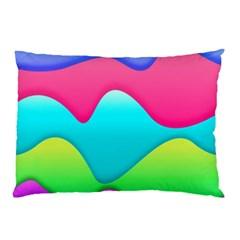 Lines Curves Colors Geometric Lines Pillow Case