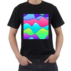 Lines Curves Colors Geometric Lines Men s T Shirt (black)