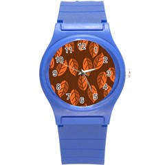 Pattern Leaf Plant Decoration Round Plastic Sport Watch (s) by Nexatart