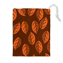 Pattern Leaf Plant Decoration Drawstring Pouches (extra Large) by Nexatart