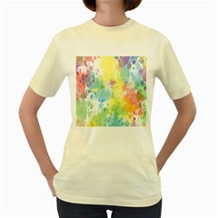 Abstract Pattern Color Art Texture Women s Yellow T Shirt