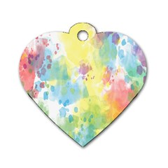 Abstract Pattern Color Art Texture Dog Tag Heart (one Side)
