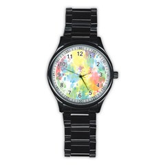 Abstract Pattern Color Art Texture Stainless Steel Round Watch by Nexatart