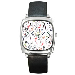Watercolor Tablecloth Fabric Design Square Metal Watch